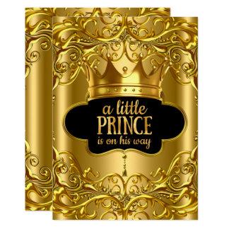 Cartão O príncipe pequeno está em seu ouro do chá de