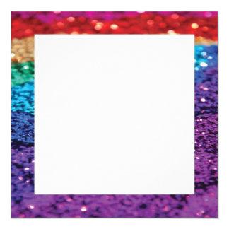 Cartão O quadrado do fundo do brilho do arco-íris convida