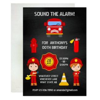 Cartão O quadro do aniversário do bombeiro adiciona o