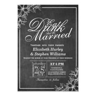 Cartão O quadro floral COME a bebida seja casamento