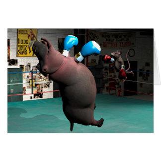 Cartão O rato bate o hipopótamo KO