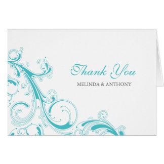 Cartão O redemoinho filigrana Curaçau azul agradece-lhe