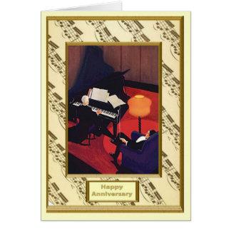Cartão O romance da música, pianista do concerto