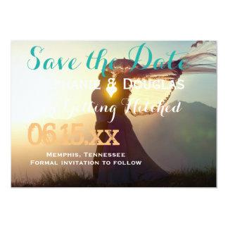Cartão O romance Wedding do por do sol do casal/salvar a