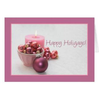 Cartão o rosa alegre dos holigays felizes ornaments o