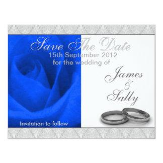 Cartão O rosa & as alianças de casamento do azul salvar o