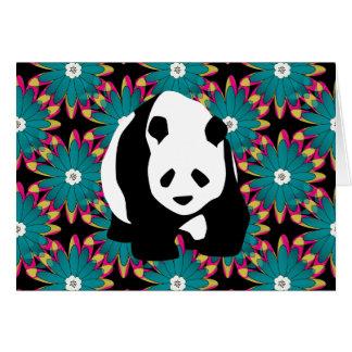 Cartão O rosa azul bonito do urso de panda floresce o