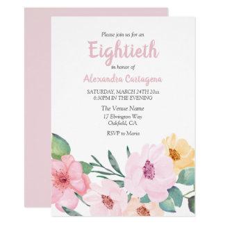 Cartão O rosa bonito floresce o aniversário do 80 convida