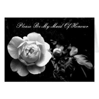 Cartão O rosa branco, seja por favor minha empregada