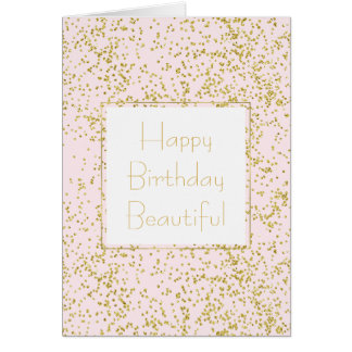 Cartão O rosa chique do ouro cora aniversário da faísca