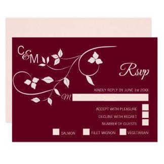 Cartão O rosa cor-de-rosa cora & Borgonha Marsala que