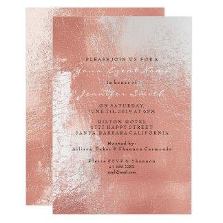 Cartão O rosa cor-de-rosa do ouro cora praia metálica