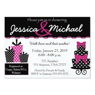 Cartão O rosa do chá de casamento convida w/envelopes