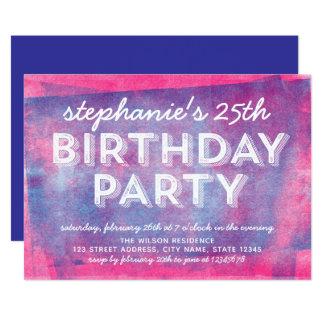 Cartão O rosa e o azul rolados cobrem todo o aniversário