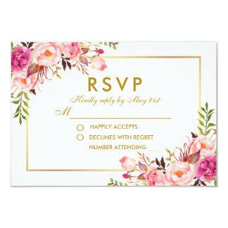 Cartão O rosa floral da aguarela cora casamento do ouro