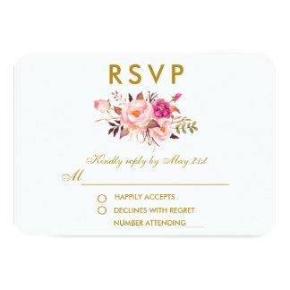 Cartão O rosa floral da aguarela cora ouro que Wedding