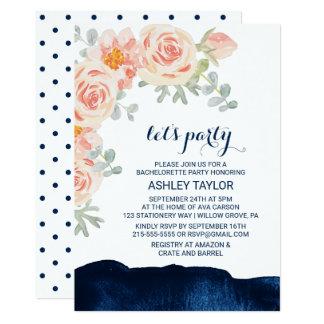 Cartão O rosa floral do pêssego & a aguarela do marinho