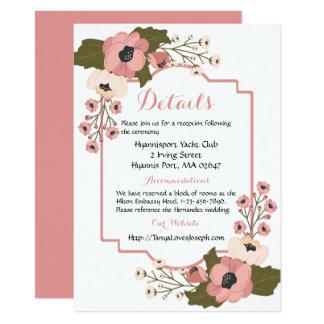 Cartão O rosa floral floresce flores da aguarela dos