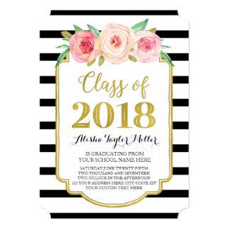 Cartão O rosa floresce a graduação preta da foto do ouro