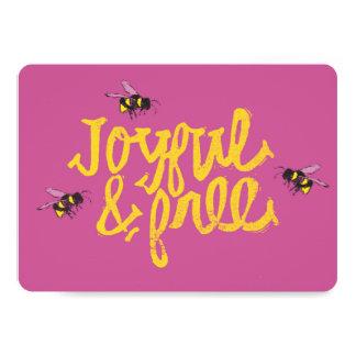 Cartão O rosa ilustrado Bumble as abelhas alegres &
