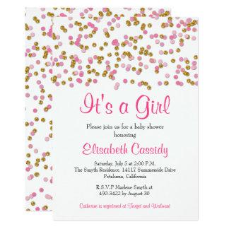 Cartão O rosa & o brilho do ouro polvilham o chá de
