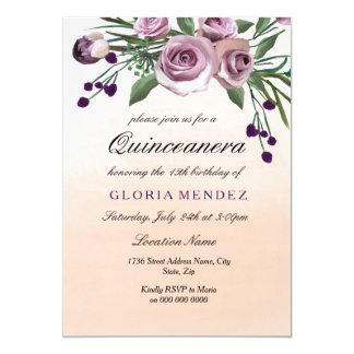 Cartão O rosa Pastel Quinceanera do roxo de Ombre do