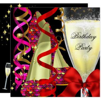 Cartão O rosa vermelho calça a festa de aniversário dos