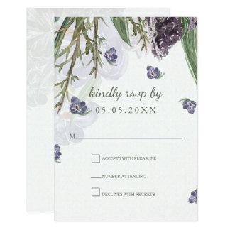 Cartão o roxo floresce o rsvp do casamento da aguarela