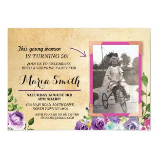 Cartão O roxo rústico floral do vintage do aniversário da