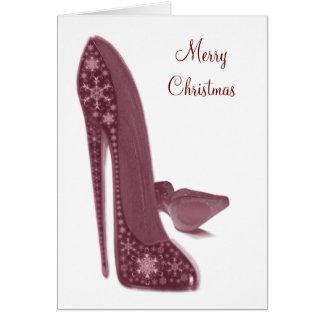Cartão O salto alto do estilete do Natal calça a arte