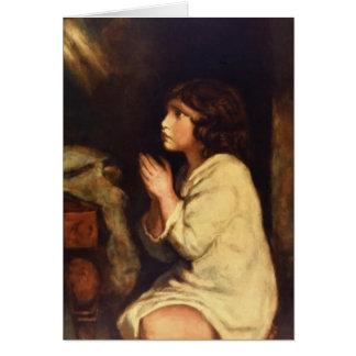 Cartão O Samuel infantil na oração por Joshua Reynolds