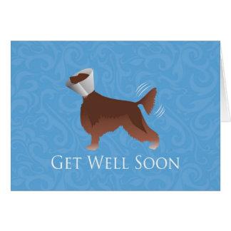 Cartão O setter irlandês obtem logo o cão bom da silhueta