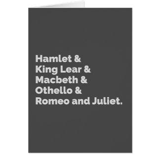 Cartão O Shakespeare joga I