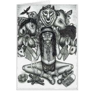 Cartão O Shaman e os espírito