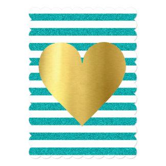Cartão O Shimmer azul da cerceta de Tiffany listra o