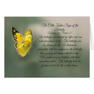 Cartão O sinal celta do zodíaco do Libra da borboleta