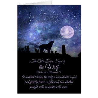 Cartão O sinal celta do zodíaco do lobo, Escorpião