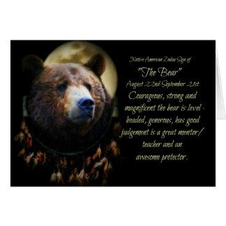 Cartão O sinal do zodíaco do nativo americano do urso
