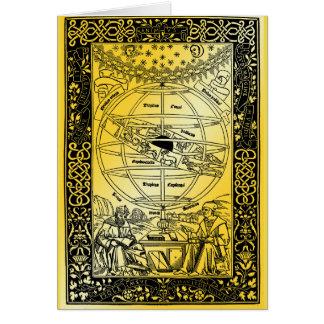 Cartão O sistema de Ptolemy por Johanes de Monte REGIO