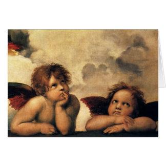 Cartão O Sistine Madonna de Raphael (detalhe)