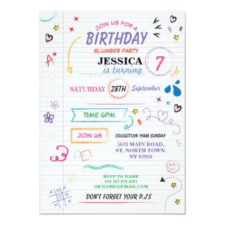 Cartão O sono sobre o esboço da festa de aniversário do