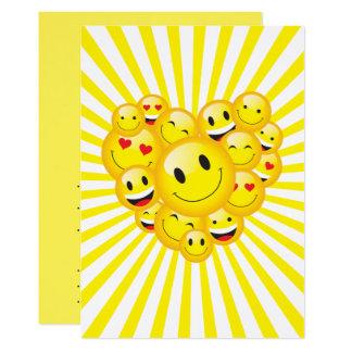 Cartão O sorriso feliz amarelo da luz do sol enfrenta o
