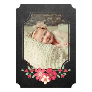 Cartão O sorvo floral rústico N da tipografia do quadro