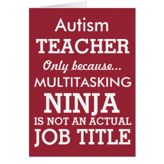 Cartão O Special engraçado do autismo precisa o professor