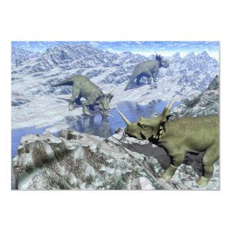 Cartão O Styracosaurus perto da água 3D rende
