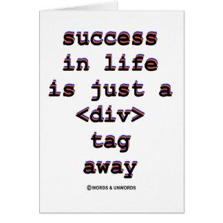 Cartão O sucesso na vida é apenas A <Div> Tag afastado