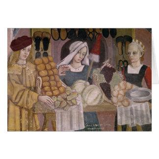 Cartão O suporte dos vendedores da fruta