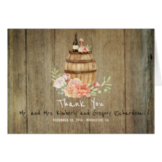 Cartão O tambor e o rosa de vinho coram obrigado rústico