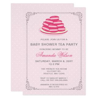 Cartão O tea party cor-de-rosa do chá de fraldas de