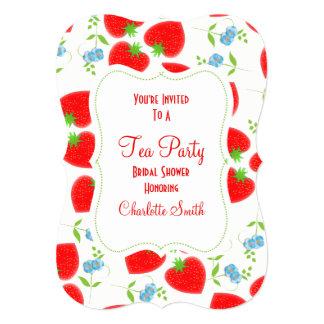 Cartão O tea party editável das flores das morangos